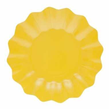 Feestartikelen diepe borden geel 21 cm- feestje!