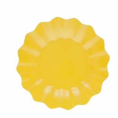 Feestartikelen diepe borden geel 27 cm- feestje!