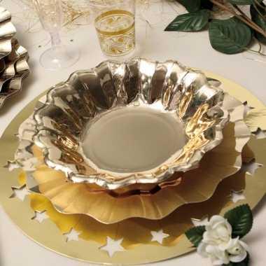 Feestartikelen diepe borden goud 27 cm- feestje!