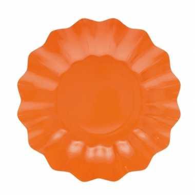 Feestartikelen diepe borden oranje 21 cm- feestje!
