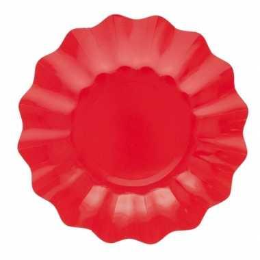 Feestartikelen diepe borden rood 21 cm- feestje!
