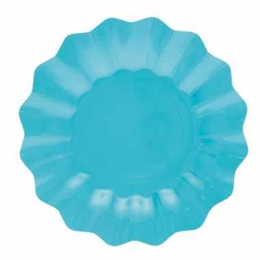 Feestartikelen diepe borden turquoise 27 cm feestje