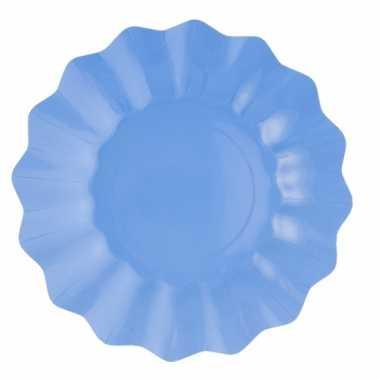 Feestartikelen diepe borden zeeblauw 21 cm feestje