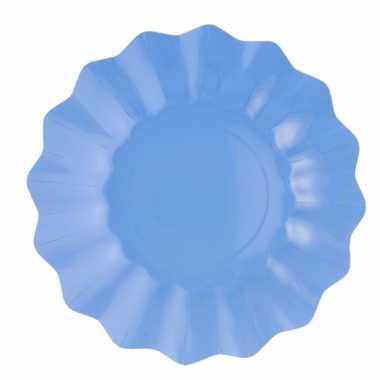 Feestartikelen diepe borden zeeblauw 27 cm feestje