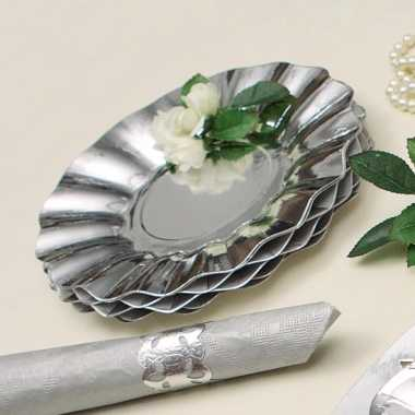 Feestartikelen diepe borden zilver 21 cm- feestje!