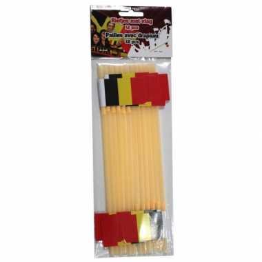 Feestartikelen gele rietjes met belgische vlag 12 stuks- feestje!