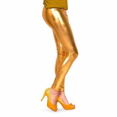Feestartikelen glimmende gouden dames legging feestje