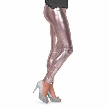 Feestartikelen glimmende zilveren dames legging- feestje!