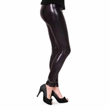 Feestartikelen glimmende zwarte dames legging- feestje!