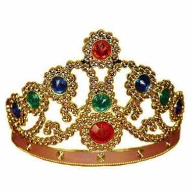 Feestartikelen gouden kroon met gekleurde stenen feestje