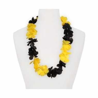 Feestartikelen hawaii bloemen krans geel zwart feestje
