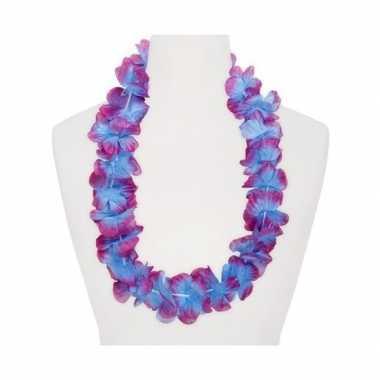 Feestartikelen hawaii bloemen krans paars blauw feestje