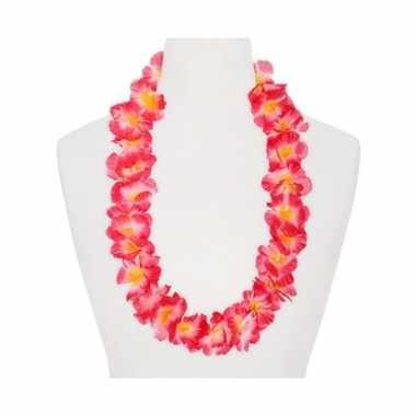 Feestartikelen hawaii bloemen krans roze/oranje- feestje!