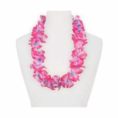 Feestartikelen hawaii bloemen krans roze paars feestje