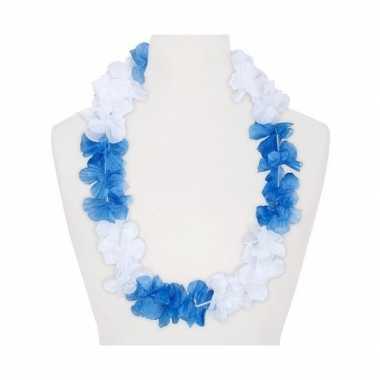 Feestartikelen hawaii bloemen krans wit blauw feestje