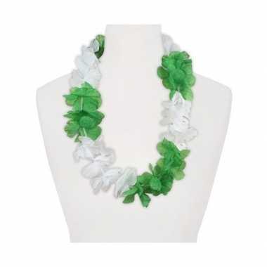Feestartikelen hawaii bloemen krans wit groen feestje