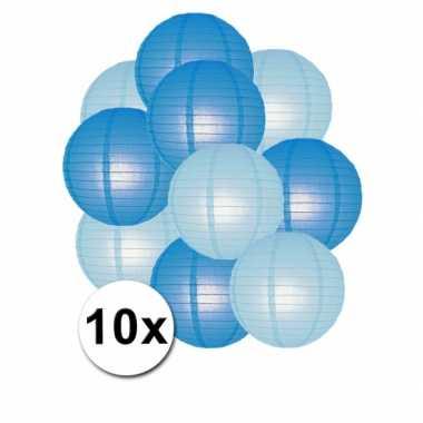 Feestartikelen lampionnen blauw/lichtblauw10x- feestje!