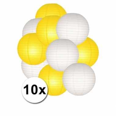 Feestartikelen lampionnen geel/witte 10x- feestje!