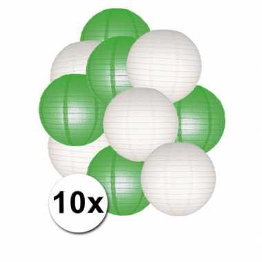 Feestartikelen lampionnen groen/witte 10x- feestje!