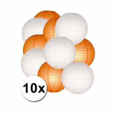 Feestartikelen lampionnen oranje/witte 10x- feestje!