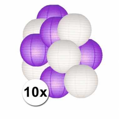 Feestartikelen lampionnen paars/witte 10x- feestje!