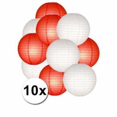 Feestartikelen lampionnen rood/witte 10x- feestje!