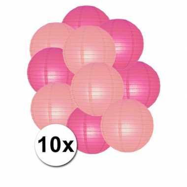 Feestartikelen lampionnen roze/lichtroze 10x- feestje!