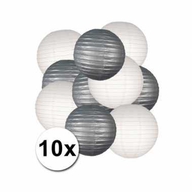 Feestartikelen lampionnen zilver/witte 10x- feestje!