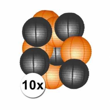 Feestartikelen lampionnen zwart/oranje10x- feestje!