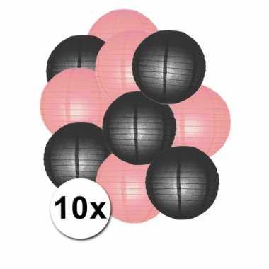 Feestartikelen lampionnen zwart/roze10x- feestje!