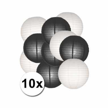 Feestartikelen lampionnen zwart/witte 10x- feestje!