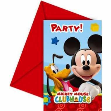 Feestartikelen mickey mouse uitnodigingen 6 stuks- feestje!