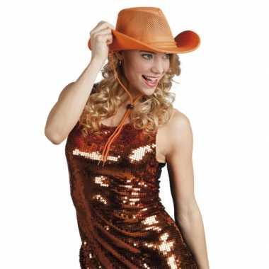 Feestartikelen oranje cowboyhoed- feestje!