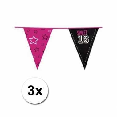 Feestartikelen sweet 16 vlaggenlijn 3 st- feestje!