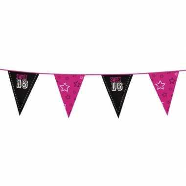 Feestartikelen sweet 16 vlaggenlijn feestje