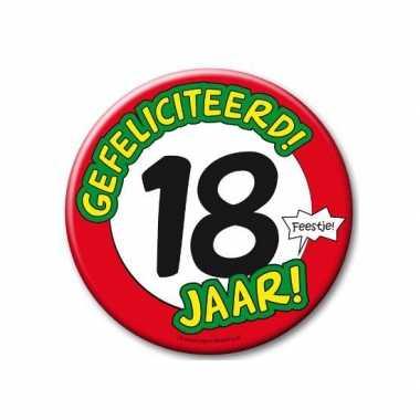 Feestartikelen xxl 18 jaar verjaardags button- feestje!