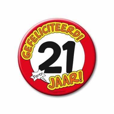 Feestartikelen xxl 21 jaar verjaardags button- feestje!