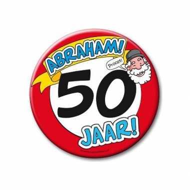 Feestartikelen xxl 50 jaar verjaardags abraham button- feestje!