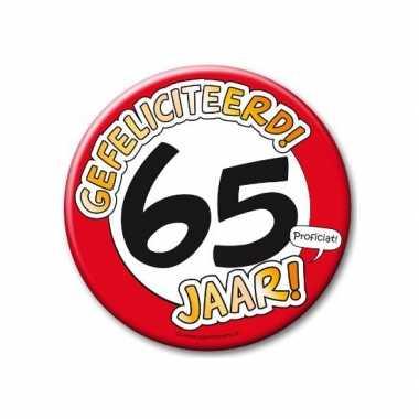 Feestartikelen xxl 65 jaar verjaardags button- feestje!