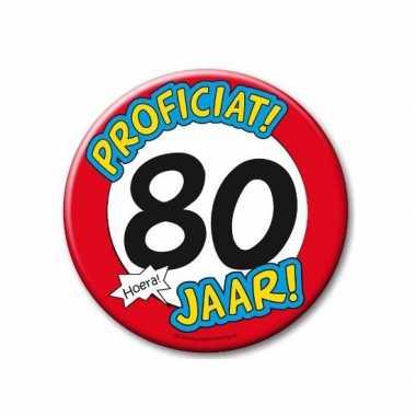 Feestartikelen xxl 80 jaar verjaardags button- feestje!