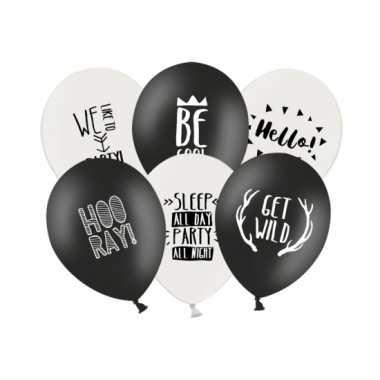 Feestballonnen zwart en wit 12 stuks- feestje!