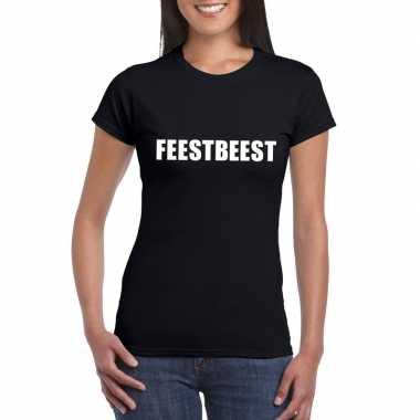 Feestbeest tekst t-shirt zwart damesfeestje!