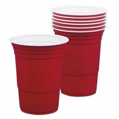 Feestbekers rood 400 ml- feestje!