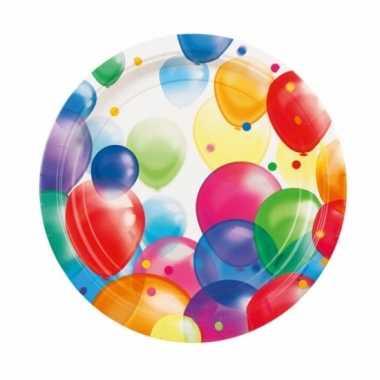 Feestbordjes met ballonnen opdruk karton 23cm 8st- feestje!