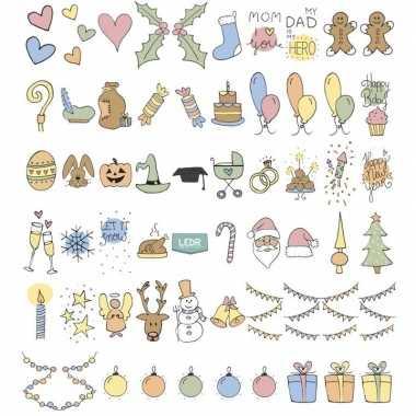 Feestdagen emoticons voor in lichtbak feestje