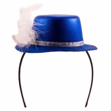 Feesthoedje blauw met wit- feestje!