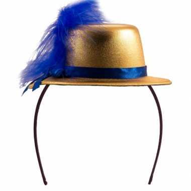 Feesthoedje goud met blauw- feestje!