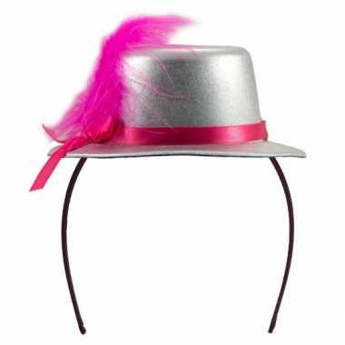 Feesthoedje zilver met roze- feestje!