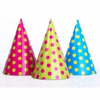 Feesthoedjes met stippen 6 stuks- feestje!