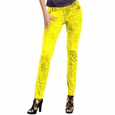 Feestkleding jeans legging neon geel feestje